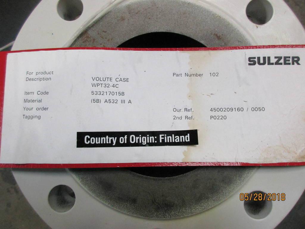 High Chrome Iron Casing to fit Sulzer WPT 32-4C | ATS Surplus