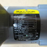 Image of this particular Baldor Frame 56C 1 HP 230/460 Volt 3450 RPM Electric Motor